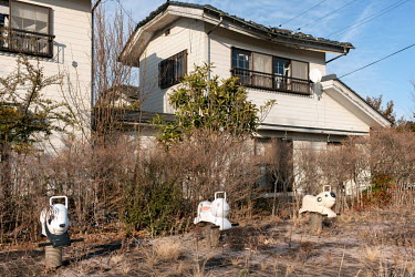 A child's play park and houses abandoned since March 2011 due to elevated radiation levels.  The entire population of Futaba was evacuated en masse after the Fukushima Daiichi nuclear disaster. Since...