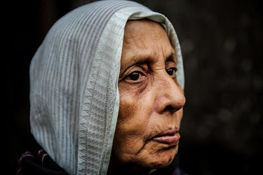 A elderly woman in the urban refugee camp popularly known as 'Geneva Camp'. The people living in the area are related to Muslims who moved here mostly, but not exclusively, from Bihar in India after p...