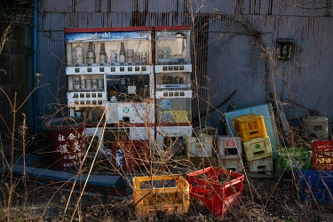 A beer vending machine abandoned since March 2011.  The entire population of Futaba was evacuated en masse after the Fukushima Daiichi nuclear disaster. Since 2013, only 4% of the town has been open t...