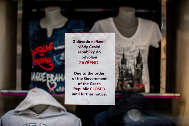 A sign in English and Czech explaining that the shop is closed on orders of the government. On 1 March 2021 the state of emergency lockdown in the Czech Republic was reinstalled because of the fast in...