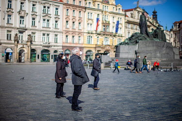 People in the Old Town Square. On 1 March 2021 the state of emergency lockdown in the Czech Republic was reinstalled because of the fast increasing number of infections. It has also been manditory, fr...