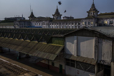 The empty Yangon Central Railway Station which has not been in operation as the staff have been participating in the Civil Disobedience Movements and staying away from their work places.