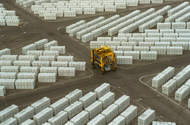 Ingots of aluminium ready for export from the Mozal plant.