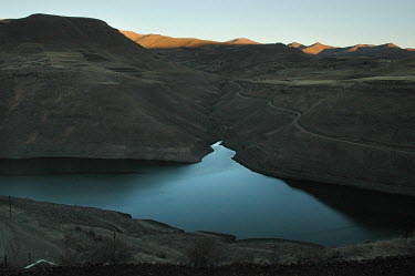 The Katse dam reservoir in the Maluti Mountains.