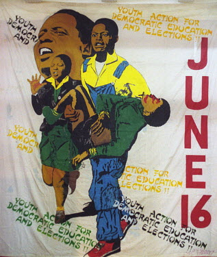 An anti-apartheid banner calling for 'Youth Action for Democractic Education and Elections'. The poster displays the date of the Sowetto Uprising, June 16, and an artist's version of Sam Nzima's photo...