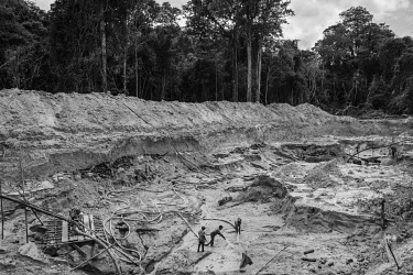 Men working in an illegal gold mine on the Rato River, a tributary of the Tapajos River, within the Itaituba National Forest. Practiced since the late 1950s in the region, the activity has undergone a...