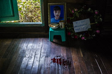 Blood marks the place where the body of Kyaw Htet Aung (19) lay at his home. The high school student was shot in the neck, earlier in the morning, by security forces who fired live rounds at anti-coup...
