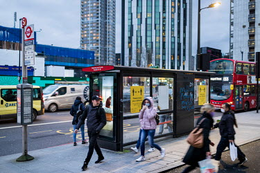 A bus at a stop in Elephant and Castle, during the 2021 COVID-19 lockdown.