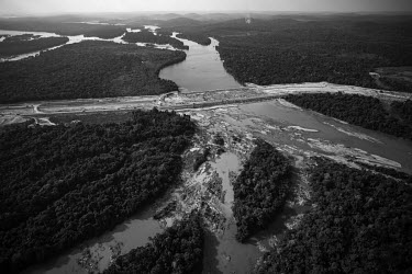 The construction of the bypass channel for the Belo Monte hydroelectric dam. More than 80% of the water in the Xingu River has been diverted from its natural course, making it one of the largest man-m...