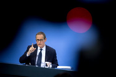 Michael Mueller, Mayor of Berlin, speaks to the media at the Chancellery Office following a telephone conference call with leaders of the Federal states to discuss COVID-19 restrictions.
