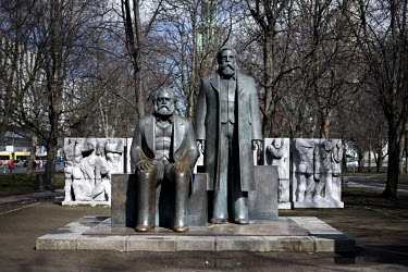 A memorial for Karl Marx and Friedrich Engels at the Marx-Engels-Forum.