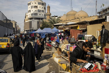 Stall holders and shoppers in the crowded Arabi market which remained busy during early 2021 despite COVID-19 still being present in the country. The government's restrictions to control the spread of...