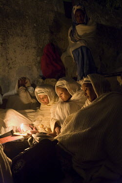 Pilgrims in the Ethiopian monastery, Deir al-Sultan, inside of Holy Sepulchre church.