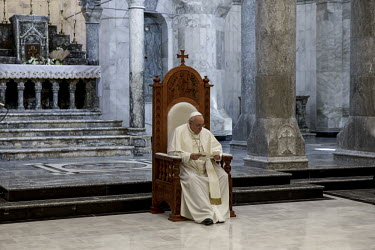 Pope Francis holds mass in the Church of Immaculate Conception in the mainly Christian town of Qaraqosh.