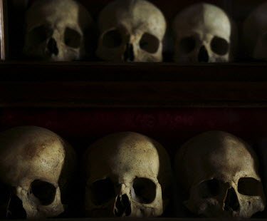 The skulls of monks killed by Persians invaders in 615 CE displayed in the sacristy of the Holy Lavra of Saint Sabbas, known in Syriac as Mar Saba.
