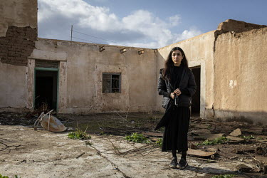Yazidi Nobel Peace Prize Laureate Nadia Murad stands outside the remnants of her family home in the village of Kocho. In 2014 she was captured and enslaved by ISIS but eventually escaped and after bei...