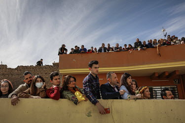 Huge crowds of people lined the streets to greet Pope Francis on his visit to the mainly Christian town of Qaraqosh.