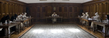 Monks eat in the refectory of the Carthusian Certosa monastery which is only used on Sundays for a meal in fellowship with all the monks, but a meal in silence, while reading sacred texts.