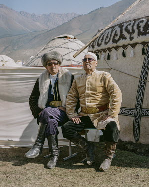 Kyrgyz men photographed at the Kyrchyn Gorge 'Ethno-Village' during the 2018 World Nomad Games.