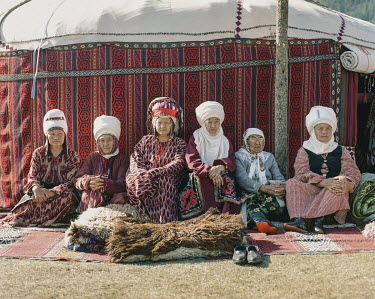 Kyrgyz women in traditional costume, at the Ethno-Village, World Nomad Games 2018.