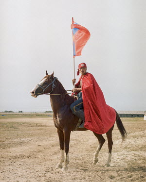 Syerik Zhenisbyk from Mongolia, a competitor in Er Enish (horseback wrestling) at the World Nomad Games.