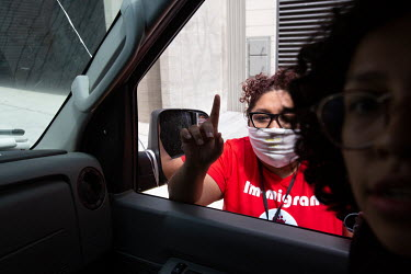 Rosa Barrientos at a car rally she organised in Los Angeles to celebrate the Supreme Court's decision not to end Deferred Action for Childhood Arrivals (DACA).   Rosa Barrientos, 26, migrated with her...