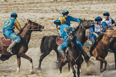 Kok Boru players from Kazakhstan and Russia compete in the 3rd place play-off match at the World Nomad Games. The Kazakh team ran out 17-1 winners in a fiercely contested match.
