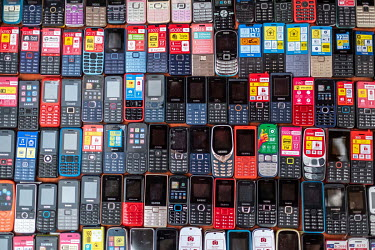 Mobile phones for sale in Kejetia market (Kumasi Central Market). The market is thought to be amongst the largest in Africa, with over 10,000 individual stores.