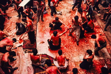 Shia men practice a ritual of self-flagellation with chains and blades, and their blood now covers the floor during Shia celebrations of Ashura in Muharram, the first month of the lunar Islamic calend...