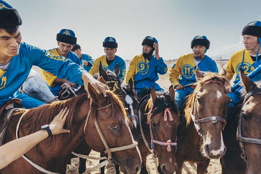 Kazakh Kok-Boru players discuss tactics ahead of their 3rd place play-off match at the World Nomad Games.