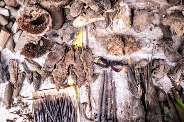 Various types of preserved animals and birds, including vultures, for sale at a vodun traditional medecine stall in Kejetia market (Kumasi Central Market).