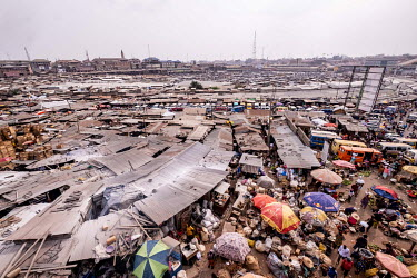 Corrugated metal roofs at Kejetia market (Kumasi Central Market). The market is thought to be amongst the largest in Africa, with over 10,000 individual stores.