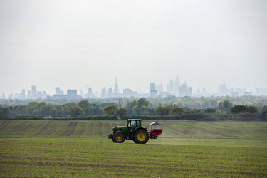 A tractor sprays seedlings growing in a field on the edge of east London. On the horizon London's high rise buildings stretch from the Barbican on the right through the City, the Shard and Canary Whar...