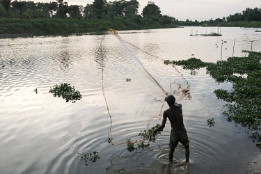 Moise Avihoue casting his net into the Oueme River on the edge of the village of Dekanme. Dwindling fish stocks are one of many factors that accelerate pressure on forests, as people must instead clea...