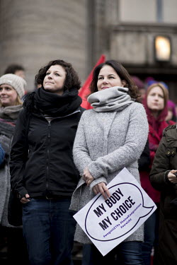 Gesine Agena, a Green party (Buendnis 90 Die Gruenen) politician, and Annalena Baerbock (right), the party's chairwoman, at a march held by various women's organisations in protest against, and for th...