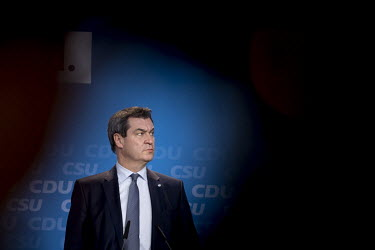 Markus Soeder, Chairman of the Bavarian Christian Democrats (CSU), speaking to the media following a meeting of the CDU and CSU to approve their joint party platform for 2019 European elections.