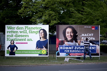 Campaign posters for the Green Party (Buendnis 90 Die Gruenen) featuring Annalena Baerbock (left) and Katarina Barley a candidate for the SPD for the May 2019 European election.