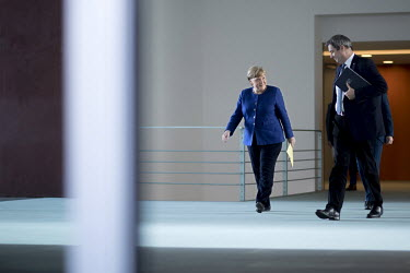 Chancellor Angela Merkel and Markus Soeder, Bavaria's State Premier, at the Chancellery Office following a telephone conference call with leaders of the federal states to discuss COVID-19 restrictions...