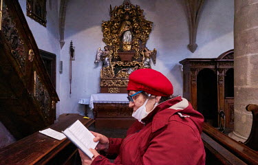 Pensioner, Vlasta Krajickova (67),�praying during Easter Sunday Mass at the church of Assumption of the Blessed Virgin Mary.