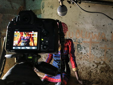 A camera set up to film an interview for Human Rights Watch with Adegbayi Titilayo Victoria (32), who is from Lagos, at the Emmanuel Rehabilitation Centre for Mentally Ill People. Victoria lives with...