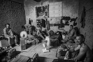 A group of US Marines in their quarters.