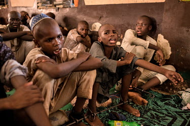 Boys locked together to iron bars in the Mamman Mai Mari Qur'anic Islamic and Rehabilitation Centre where men and boys, some as young as 10 years old, are shackled for perceived or actual drug addicti...