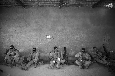 US marines take a rest during a patrol in Safar.