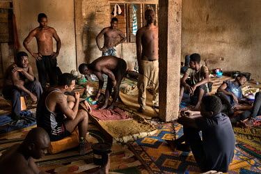 Patients at the Edwuma Wo Woho Herbal Centre, which houses about 30 people many with mental health conditions. At least half are shackled with chains. The centre is run by herbal doctor Irene Dadzie (...