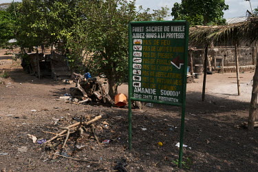 Refuse and the remnants of a rubbish fire surround a sign on the edge of a sacred forest in Kikele indicating that fires, the felling of trees, traps, guns, crop fields, open defecation, livestock gra...