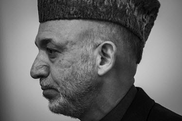 Former Afghan president Hamed Karzai during a press conference.