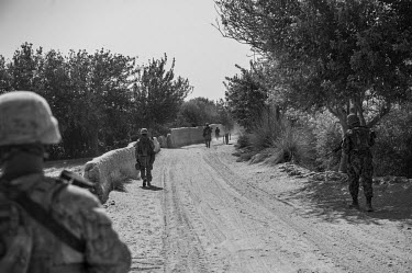 U.S. Marines conduct a security patrol in Garmsir.
