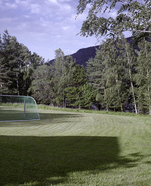 The football field where the youths played matches during the summer camp on Utoya island. On 22 July 2011 Anders Behring Breivik killed 69 people on the island.