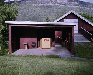 The little stage build in an old barn where the politicians who visit the summer camp at Utoya give their speaches. It is located at the bottom of a hill called 'Bakken'. One person was killed here by...