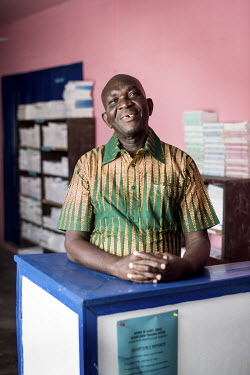 Bernard Akumiah (67) works on the front desk as a salesman for Source of Light, an NGO doing divinity work. Bernard has lived with anxiety and depression. He syas he went to a prayer camp for healing...